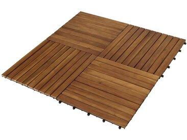 Balkon Holzfliesen Set aus Akazie Massivholz und Kunststoff 50 cm breit (5er Set)