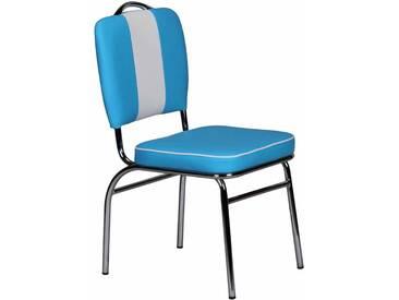 Retro Stuhl in Blau Weiß Chrom