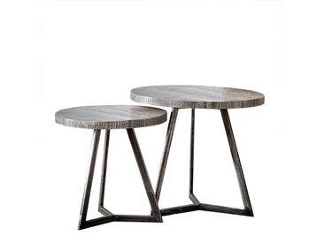 Design Rundtisch Set im Industry Look Mangobaum Massivholz und Metall (2-teilig)
