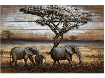 Afrika Metallbild mit Elefanten Motiv 120 cm breit