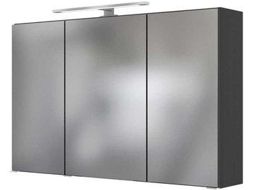 Badezimmer Spiegelschrank in Dunkelgrau LED Beleuchtung