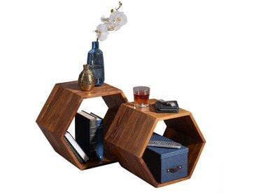 Beistelltisch Set aus Sheesham Massivholz sechseckig (2-teilig)