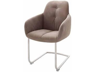 Freischwinger Sessel in Schlamm Kunstleder Edelstahl (2er Set)