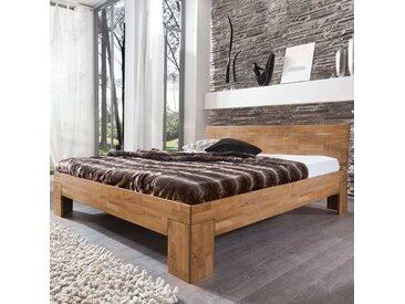 Echtholzbett aus Wildeiche Massivholz 80 cm Kopfteil