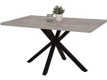 Küchentisch in Beton Grau und Schwarz 140 cm breit