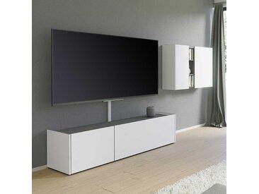 Wohnzimmer Anbauwand in Weiß und Dunkelgrau 265 cm breit (2-teilig)