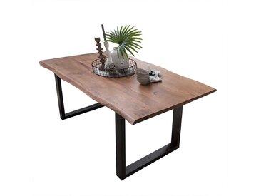 Baumkanten Esszimmertisch aus Akazie Massivholz schwarzem Bügelgestell