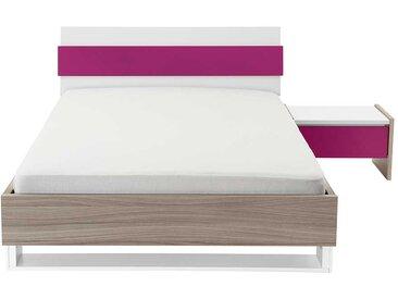 Mädchen Jugendbett in Holz Pink mit Nachtkonsole (2-teilig)