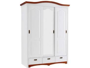 Schiebetürenschrank in Weiß und Kirschbaumfarben Spiegeltüren