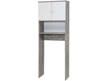 Waschmaschinen Unterbauschrank in Weiß Beton Grau 180 cm hoch