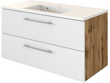 Waschtischunterschrank in Weiß und Wildeiche Optik zwei Schubladen