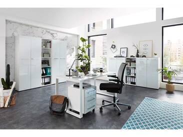 Komplett Büro Einrichtung in Weiß Glas beschichtet (8-teilig)