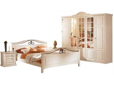 Schlafzimmer Kombination Im Landhausstil Weiß Braun (4 Teilig)
