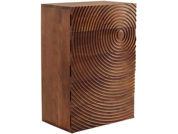 Echtholz Kommode aus Mangobaum Massivholz Rillenstruktur