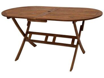 Ovaler Terrassentisch aus Akazie Massivholz klappbar