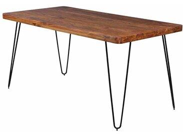 Esszimmertisch aus Sheesham Massivholz Metall Schwarz