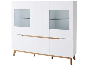 Esszimmer Highboard in Weiß Glas Eiche massiv