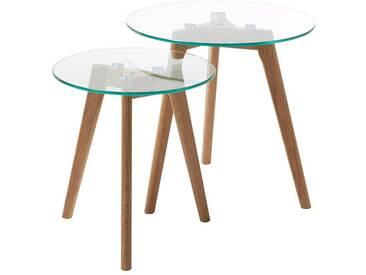 Modernes Beistelltisch Set mit Klarglasplatte und Massivholzgestell (2-teilig)