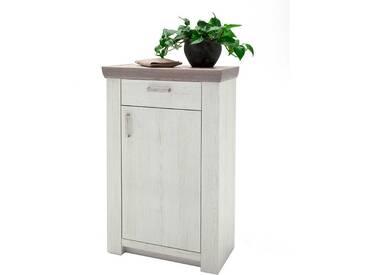 Garderoben Kommode im Landhausstil Pinie Weiß und Eiche
