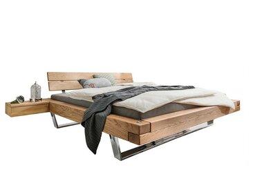 Balkenbett aus Wildeiche Massivholz Nachtkonsolen (3-teilig)
