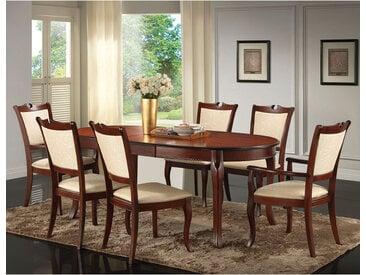 Italienische Esszimmer Sitzgruppe in Beige und Walnussfarben ovalem Tisch (7-teilig)