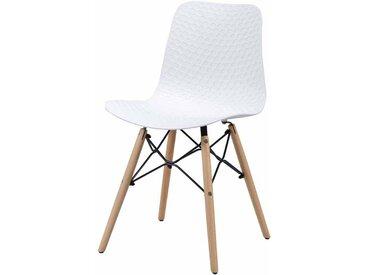 Stuhl Set in Weiß Kunststoff Holzbeine massiv (4er Set)