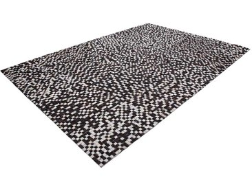 Patchwork Teppich aus kurzem Echtfell Landhausstil