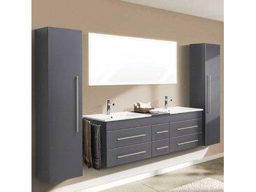 Badezimmer Set mit Doppelwaschtisch Anthrazit und Weiß (4-teilig)