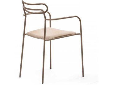 Metallstuhl Set in Beige Polsterauflage (2er Set)