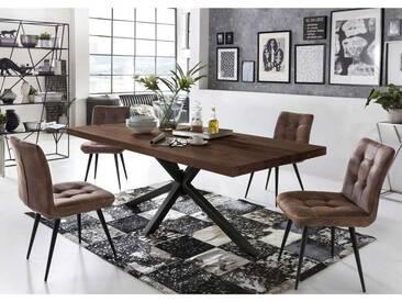 Design Essgruppe im Loft Style Balkeneiche Tisch (5-teilig)