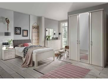 Schlafzimmer Einrichtung in Weiß Bett mit Komforthöhe (5-teilig)