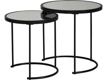 Beistelltisch Set in Schwarz runden Spiegelglas Platten (2-teilig)