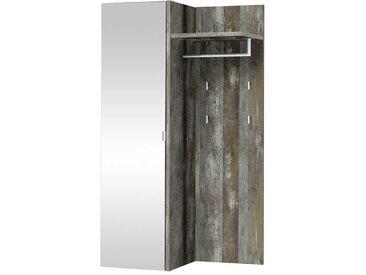 Wandpaneel Garderobe in Grau Treibholz Spiegel