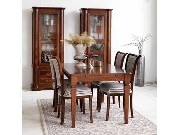 Esszimmer Tischgruppe in Walnussfarben Braun Beige gestreift (5-teilig)