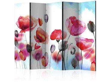 Leinwand Paravent mit gemalten Mohnblumen 225 cm breit