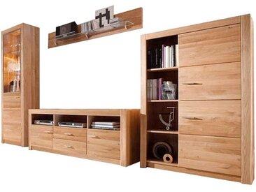 Holz Wohnwand aus Asteiche teilmassiv modern (4-teilig)