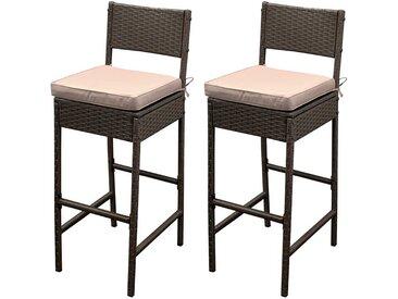 Outdoor Barstühle in dunkel Braun aus Kunstrattan 40 cm breit (2er Set)