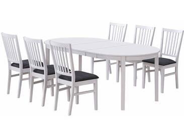 Esstisch mit Stühlen im skandinavischen Design Weiß Grau (7-teilig)