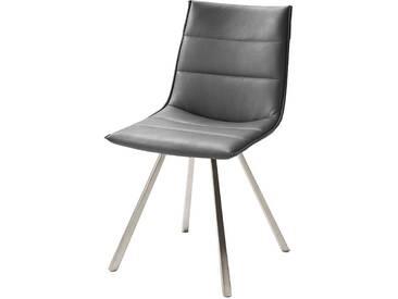 Design Küchenstuhl in Grau Edelstahl (2er Set)