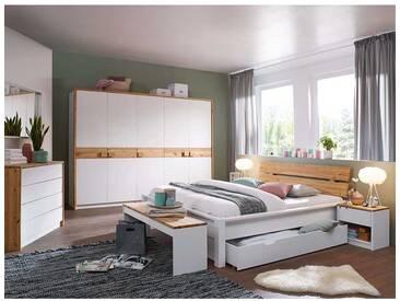 Schlafzimmer Einrichtung in Weiß Kiefer massiv 180x200 cm Bett (7-teilig)