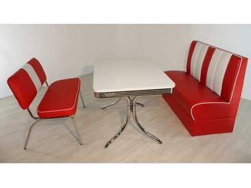 Bank Sitzgruppe im Retro Style Rot Weiß gestreift (3-teilig)