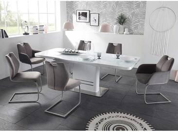 Essgruppe in Weiß Anthrazit Tisch ausziehbar (7-teilig)