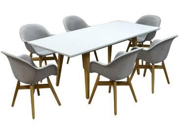 Skandinavische Esszimmergruppe in hell Grau und Weiß ausziehbarem Tisch (7-teilig)