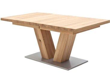 Ausziehbarer Tisch mit V-Fußgestell Eiche Massivholz