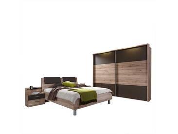 Schlafzimmer Einrichtung in Eiche Braun mit Schwebetürenschrank (4-teilig)