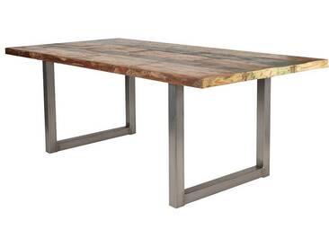 Esszimmertisch aus Recyclingholz Bunt Braun Stahl