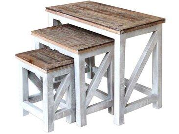 Beistelltisch Set in Antikweiß und Braun Landhaus Design (3-teilig)