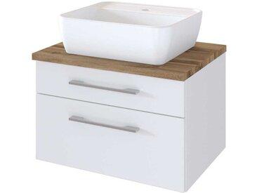 Design Waschtisch in Weiß und Wildeiche Dekor Schubladen