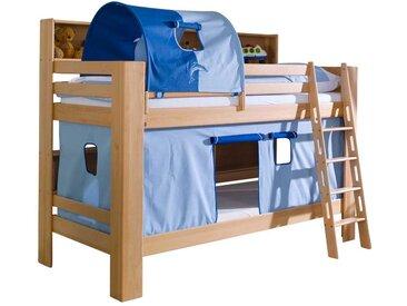 Kinderetagenbett aus Buche Massivholz Tunnel Blau