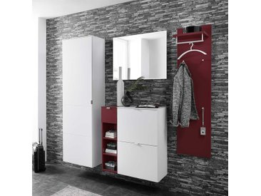 Garderobenmöbel Set in Rot und Weiß modern (5-teilig)